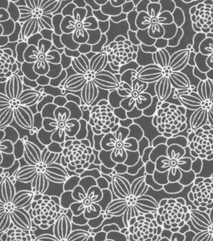 Snuggle Flannel Fabric -Sketched Flowers