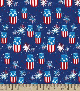Patriotic Mason Jar Print Fabric