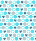 Snuggle Flannel Fabric 42\u0022-Hearts and Dots Blue