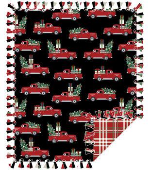 No Sew Fleece Throw-Red Truck Christmas Tree