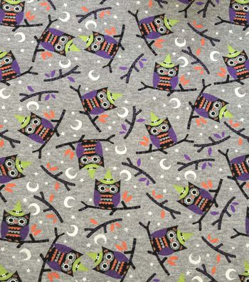 "Halloween Cotton Interlock Fabric 57""-Gray & Purple Owls"