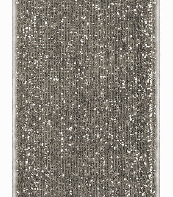 "Offray 1.5""x9' Velvet Metallic Ribbon-Silver"