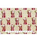 Holiday Cotton Fabric -Santas with Hollys