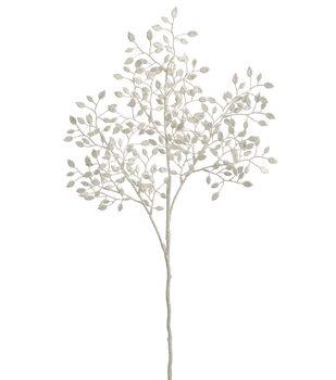 "Bloom Room 28"" Plastic Leaves Spray-Pearl"