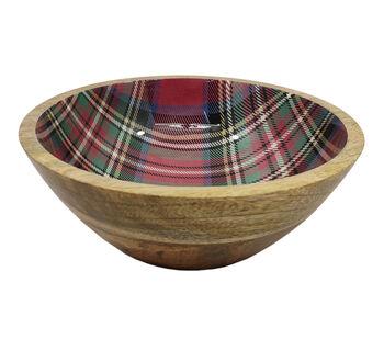 Handmade Holiday Christmas Medium Wooden Serving Bowl-Plaid