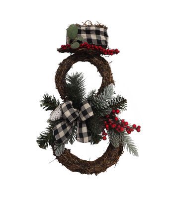 Blooming Holiday Christmas Grapevine Snowman Decor