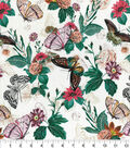 Novelty Cotton Fabric-Realistic Butterflies & Flowers