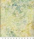 Batik Cotton Fabric 44\u0022-Packed Floral Pewter