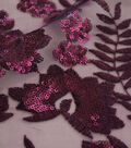 Embroidered Sequin Mesh Fabric-Blackberry Wine Leaf