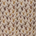Novelty Cotton Fabric-Rustic Patterned Stag Head