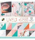DCWV 36 Pack 12\u0027\u0027x12\u0027\u0027 Premium Stack Printed Cardstock-Lively Geos