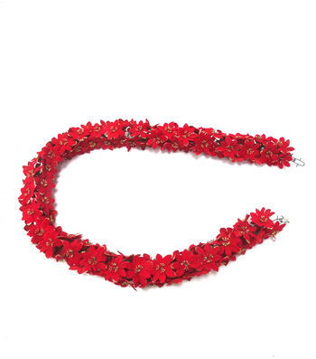 Blooming Holiday Christmas 4''x66'' Glitter Poinsettia Chain Garland-Red