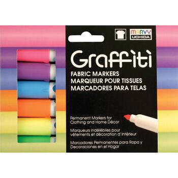 Graffiti Fabric Marker 6/Pkg Fluorescent