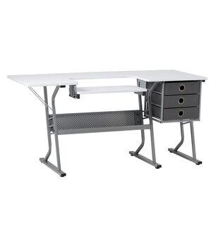 Studio Designs Eclipse Ultra Steel Sewing Machine Table-Gray & White