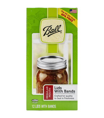 Ball 12 pk Lids with Bands-Silver