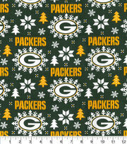 Green Bay Packers Christmas Flannel Fabric-Holiday, , hi-res
