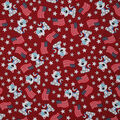 Patriotic Cotton Fabric-Meow Cat with Stars and Glitter