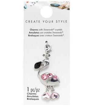 Swarovski Create Your Style Flamingo Charm-Pink & Black Crystals