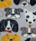 Anti-Pill Fleece Fabric -Dog Faces on Gray