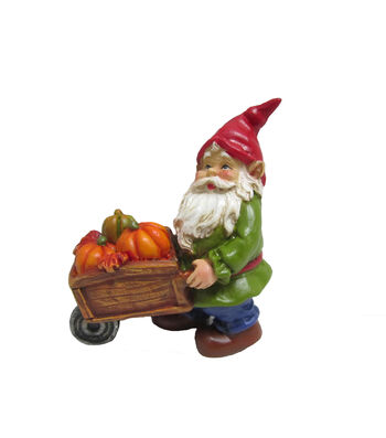 Simply Autumn Littles Gnome with Pumpkin Wheel Barrel