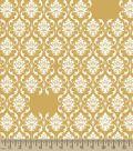 Yellow Damask Print Fabric