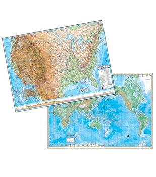 "U.S./World Physical Rolled Laminated Map Set, 48""W x 36""H"