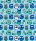 Snuggle Flannel Fabric 42\u0022-Owl Blues