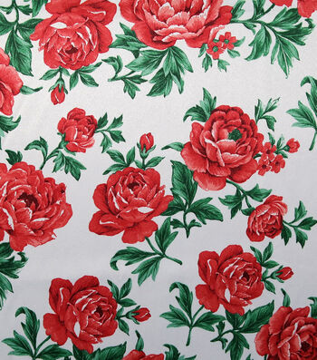 Casa Embellish Gardenia Satin Fabric 57''-Tango Red Floral