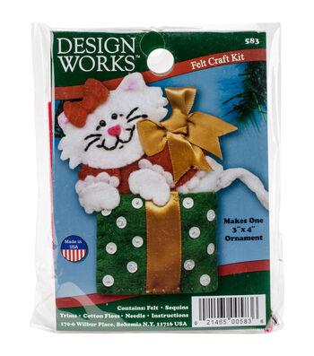 Design Works Christmas 3''x4'' Box Cat Ornament Felt Craft Kit