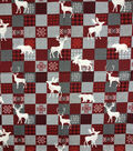 Novelty Cotton Fabric -Buffalo Check Patchwork Animals