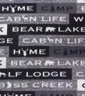 Blizzard Fleece Fabric-Gray Words