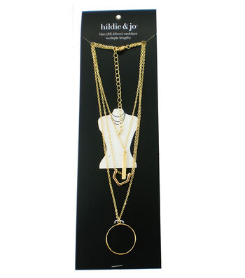 hildie & jo 16'' Multi Strand Necklace with Charms-Gold