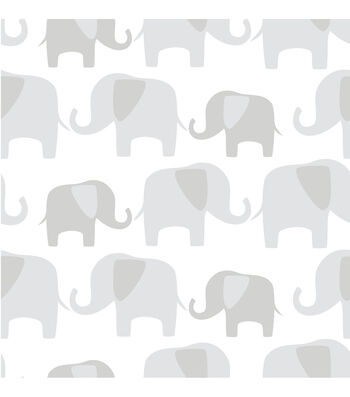 WallPopsNuWallpaper Gray Elephant Parade Peel And Stick Wallpaper