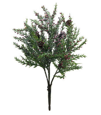 Blooming Holiday Christmas Sugared Pine Bush with Red Berries