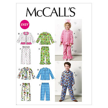 McCall's Pattern M6458 Children's Sleep & Lounge-Size 1-2-3