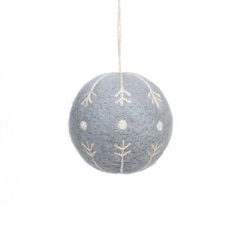 Handmade Holiday Christmas Scandimas Knit Ball Ornament-Gray