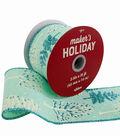 Maker\u0027s Holiday Christmas Ribbon 2.5\u0027\u0027x25\u0027-Blue Glitter Trees