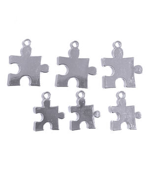 Blue Moon Beads Charms Puzzle Pieces Silver