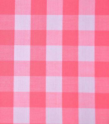 Cotton Shirting Fabric 42''-Pink & White Big Gingham