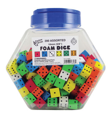 Assorted 16mm Foam Dice, Tub of 200