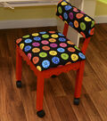 Arrow Red Sewing Chair with Scalloped Base-Buttons on Black