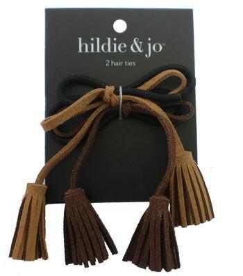 hildie & jo 2 Pack Hair Ties with Tassel-Brown & Tan