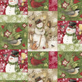 Christmas Cotton Fabric-Snowman Patch with Animals