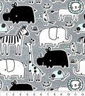 Nursery Cotton Fabric-Gray Blue Safari