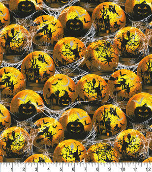 Halloween Cotton Fabric-Bewitched Magical Orbs Glitter