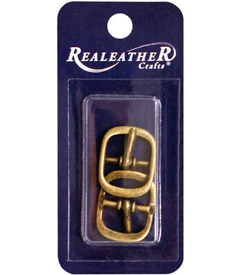Realeather Crafts 2 pk Buckles-Antique Brass