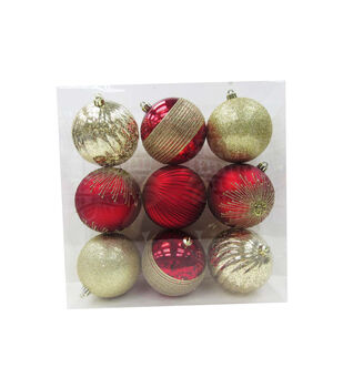 Handmade Holiday Crimson Traditions 9 pk 100 mm Boxed Ornaments