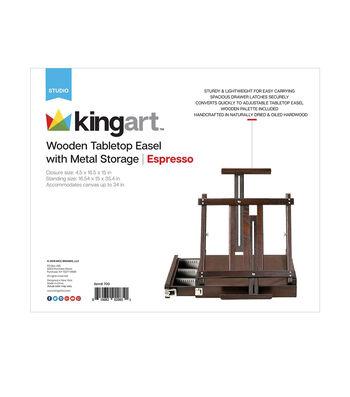 KINGART Wooden Tabletop Easel W/Metal Storage-Espresso