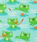 Anti-Pill Fleece Fabric 59\u0022-Jumping Frogs On Lily Pads