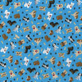 Novelty Cotton Fabric -Tossed Pups on Teal